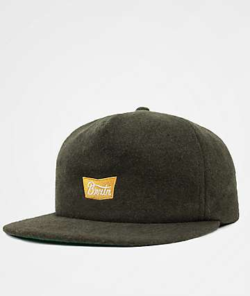 Brixton Stith Hunter Green Snapback Hat