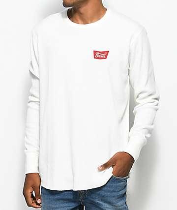 Brixton Stith camiseta de punto térmico de manga larga en blanco