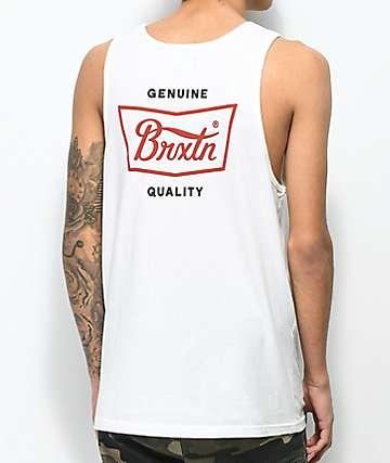 Brixton Stith camiseta sin mangas en blanquecino y rojo