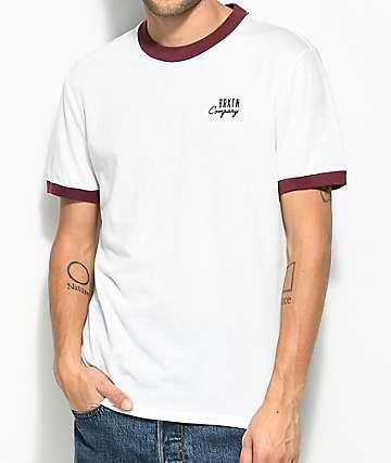 Brixton Stockport camiseta blanca y color borgoño