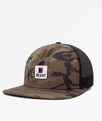 Brixton Stowell Camo & Black Trucker Hat