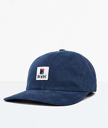 Brixton Stowell Washed Navy Strapback Hat