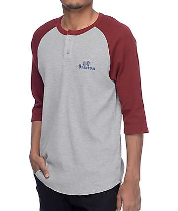Brixton Tanka Grey & Burgundy Thermal Henley Shirt