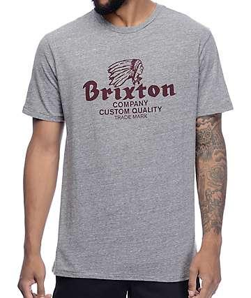 Brixton Tanka Premium camiseta en gris y color borgoño