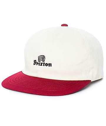 Brixton Tanka Unstructured White & Burgundy Strapback Hat