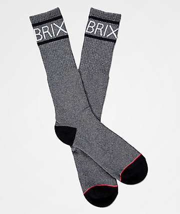 Brixton Tanner Heather Charcoal Crew Socks