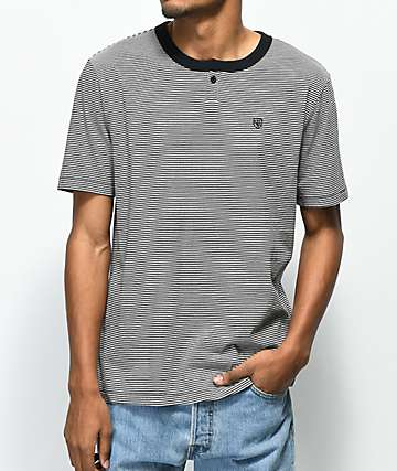 Brixton Toronto Black & White Striped Henley T-Shirt