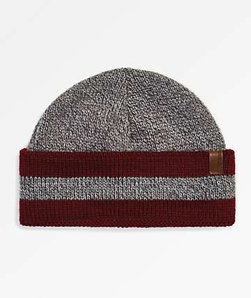 Brixton Valdez Heather Grey & Burgundy Fold Beanie