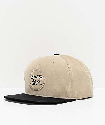 Brixton Wheeler Black & Vanilla Snapback Hat