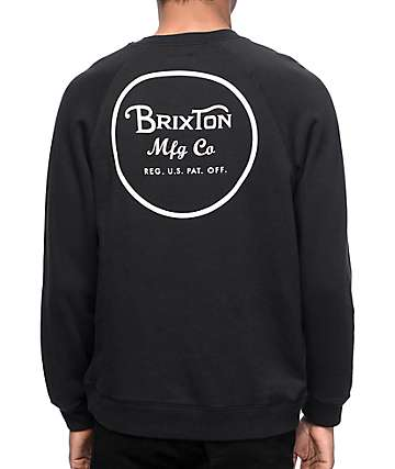 Brixton Wheeler Black Crew Neck Sweatshirt