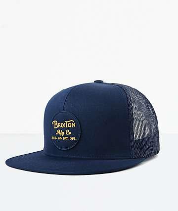 Brixton Wheeler Blue Mesh Snapback Hat