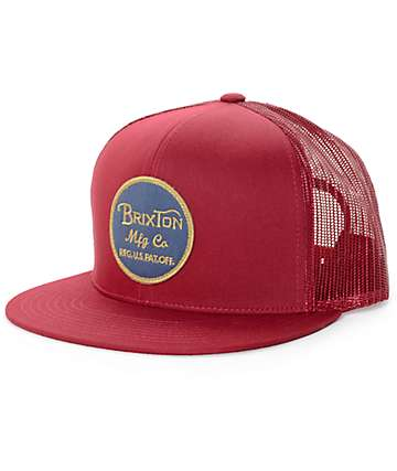 Brixton Wheeler Burgundy Trucker Hat