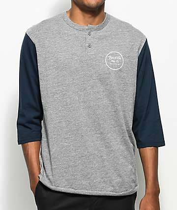 Brixton Wheeler Heather Grey & Navy Henley Baseball T-Shirt