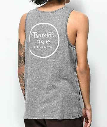 Brixton Wheeler Heather Grey & White Tank Top