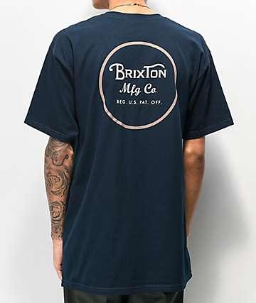 6c6e3a37572815 Brixton Wheeler II Navy & Pale Orange T-Shirt