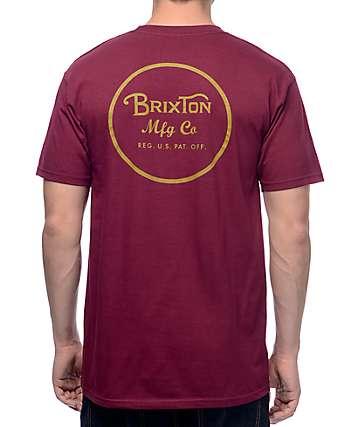 Brixton Wheeler II camiseta en color borgoño