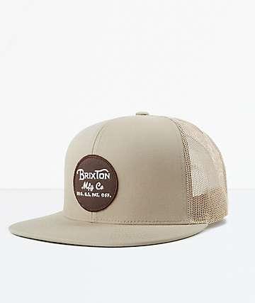 Brixton Wheeler Khaki Mesh Snapback Hat