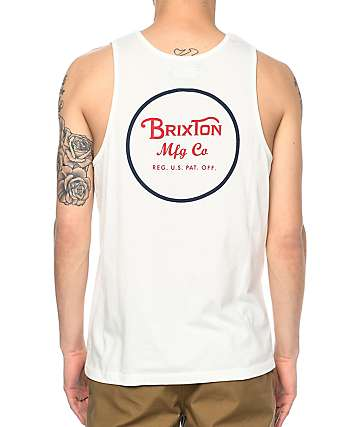 Brixton Wheeler Off White & Navy Tank Top