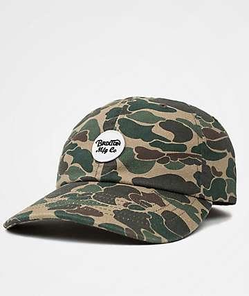 Brixton Wheeler Olive Camo Strapback Hat