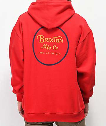Brixton Wheeler Red, Navy & Gold Hoodie