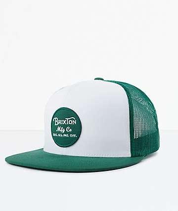 Brixton Wheeler White & Leaf Mesh Snapback Hat