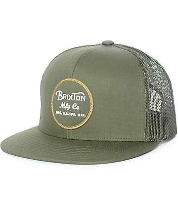 Brixton Wheeler gorra trucker en verde olivo