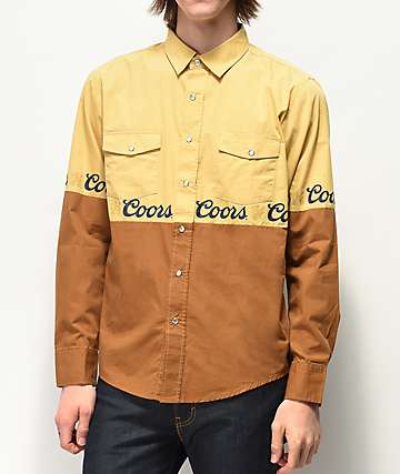 Brixton x Coors Banquet Suds Woven Long Sleeve Button Up Shirt