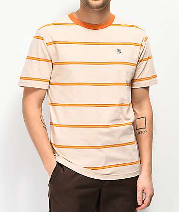 Brixton x Independent Deputy Striped Orange & Tan T-Shirt
