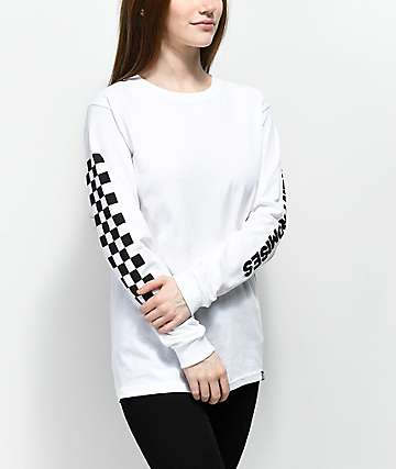Broken Promises 2 Tone Checker White Long Sleeve T-Shirt