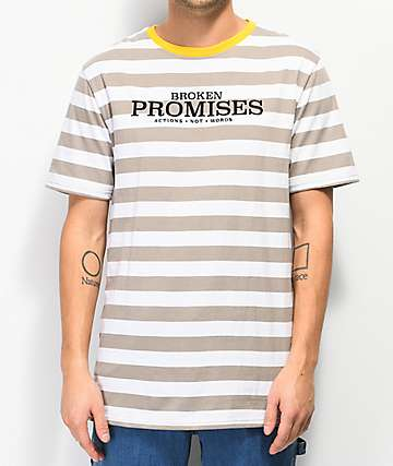 Broken Promises Actions Not Words Striped Grey T-Shirt