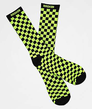 Broken Promises Bolted Green & Black Crew Socks