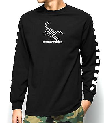 Broken Promises Checkered Scorpion Black Long Sleeve T-Shirt