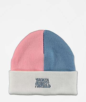 Broken Promises Colorblock Sorcerer White, Pink & Blue Beanie