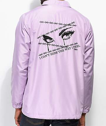 Broken Promises Crying Eye Lavender Coaches Jacket