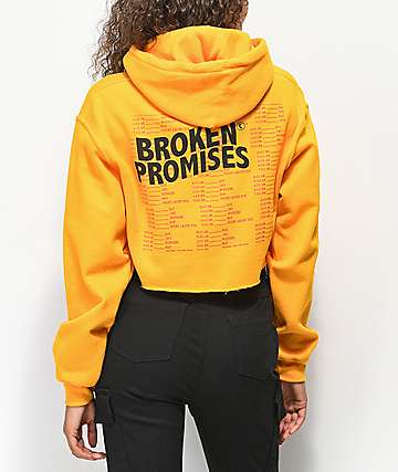 Broken Promises Daily Ritual Gold Crop Hoodie