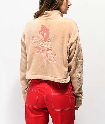 Broken Promises Do Better Sand Crop Half Zip Fleece Sweatshirt