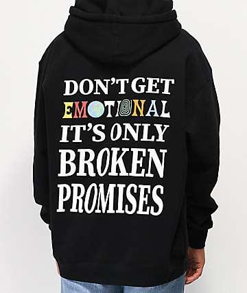 Broken Promises Emotional Black Hoodie
