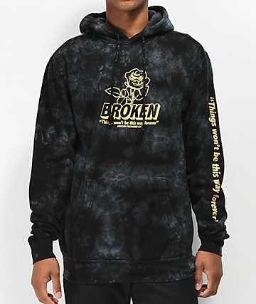 Broken Promises Evermore sudadera con capucha negra con efecto tye dye