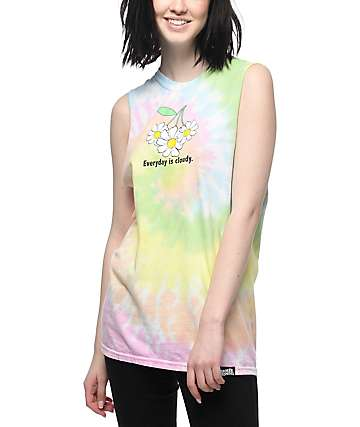 Broken Promises Everyday Is Cloudy Tie Dye Muscle Tank Top