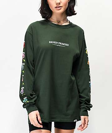 Broken Promises Feeled Guide Forest Green Long Sleeve T-Shirt