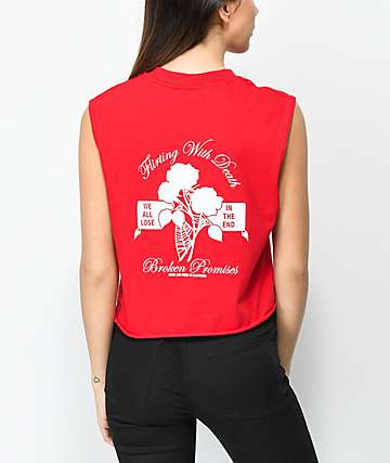 Broken Promises Flirting With Death Red Crop Tank Top