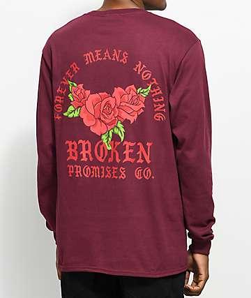 Broken Promises Forever Means Nothing camiseta de manga larga en color borgoño