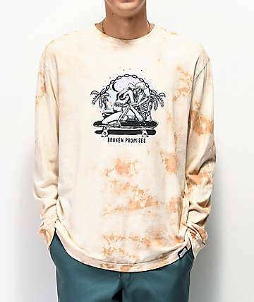 Broken Promises Hang Twenty White Tie Dye Long Sleeve T-Shirt