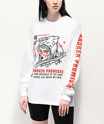 Broken Promises Maneater White Long Sleeve T-Shirt