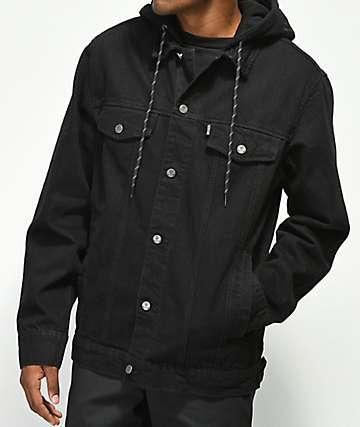 Broken Promises Midnight Black Hooded Denim Jacket