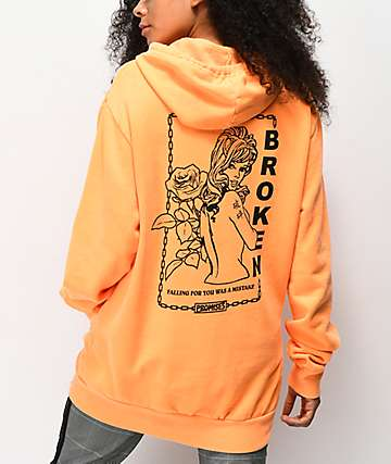 Broken Promises Mistaken Chain Orange Hoodie