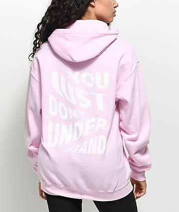Broken Promises Misunderstood sudadera rosa con capucha