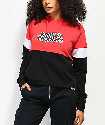 Broken Promises Moto Black, White & Red Colorblock Hoodie