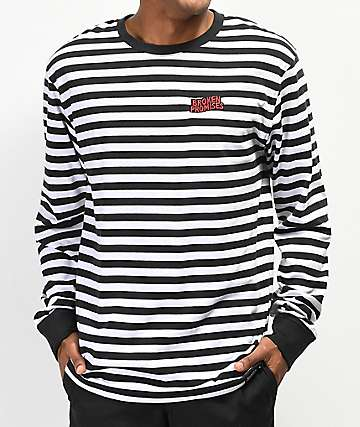 Broken Promises Paranoid Stripe Black & White Long Sleeve T-Shirt