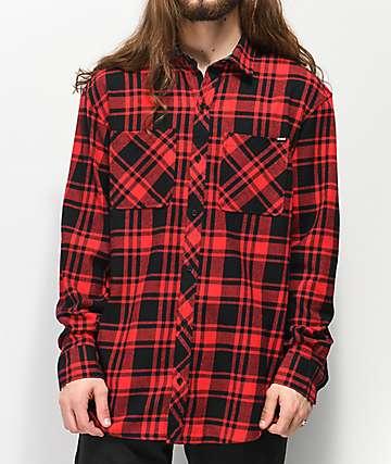 Broken Promises Paranoid camisa de franela roja y negra